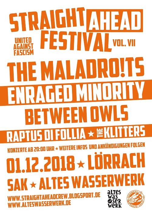 Straight Ahead-Festival. United against Fascism. Vol. VII, 01.12.2018, Lörrach, SAK Altes Wasserwerk - Plakat