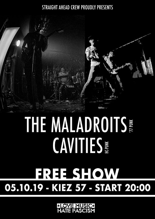 The Maladroits + Cavities - Plakat - 05.10.2019, Freiburg im Breisgau, Kiez 57